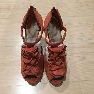 (二手)H&M黑色/橘色高跟鞋