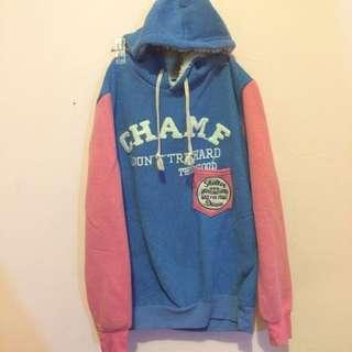 粉藍配色 拼接 美式 休閒 帽T
