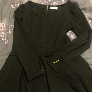 黑色氣質洋裝(拉鋉式)