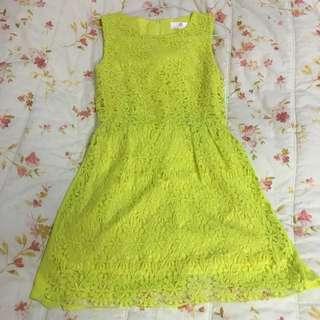 螢光黃綠蕾絲洋裝👗 #一百元洋裝