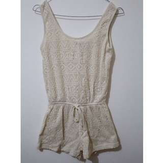 White/cream lacey one piece romper