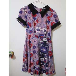 Dotti purple floral dress w/ peter pan collar