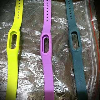 小米手環 彩色 腕帶 紫 灰 綠 淺綠 一代二代 可用