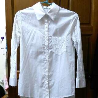 雕花白襯衫