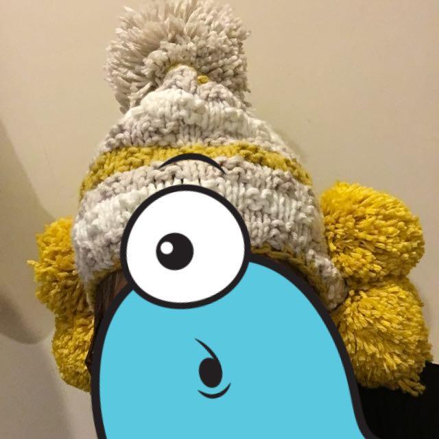 可愛毛球保暖毛帽