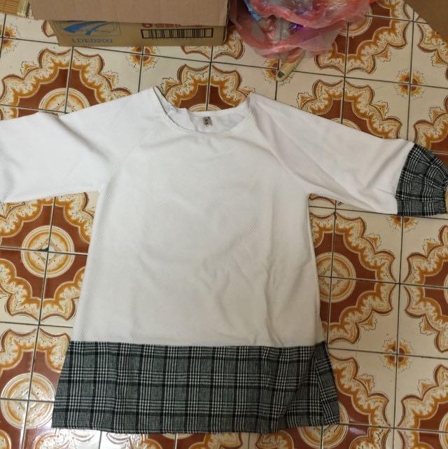 拼接白色長版上衣