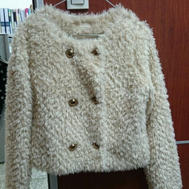 韓製鋪棉毛毛外套