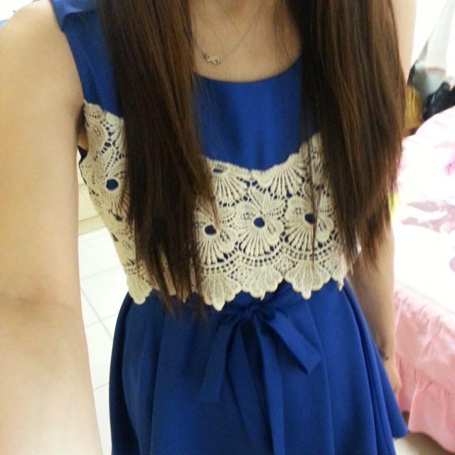 正韓藍色蕾絲小洋裝~附腰帶 #一百元洋裝