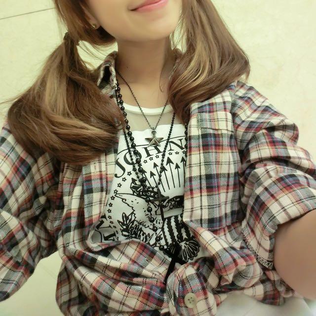 韓-格紋寬袖襯衫