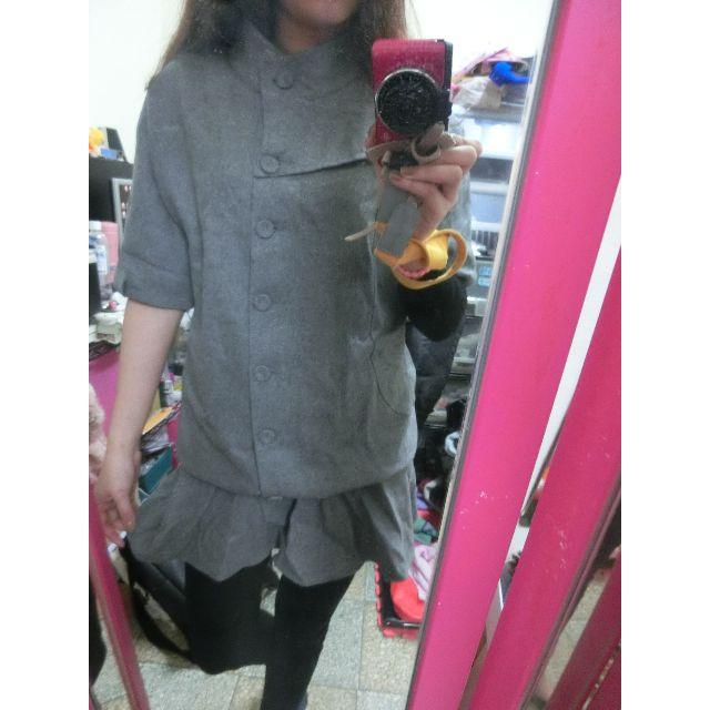 全新!!灰色毛尼為高領造型連身裙