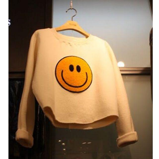 預購! 2016 春裝  韓國高腰版套頭寬鬆短版圓領可愛黄色笑臉打底上衣