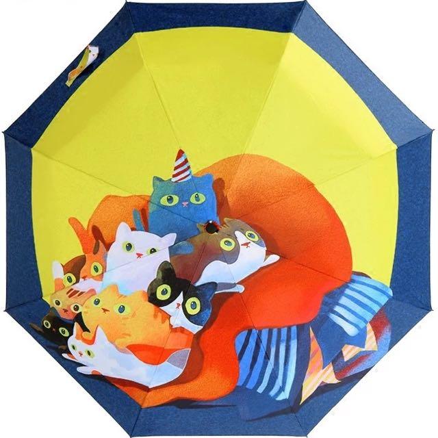 新款萌寵貓群三折晴雨傘 逼真印花不褪色不串色 貓咪雨傘 貓咪世界