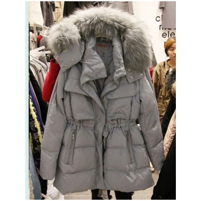 預購! 韓國東大門 超大毛帽毛領收腰顯瘦燕尾毛大衣棉 外套 出清換季 需等待7-10天