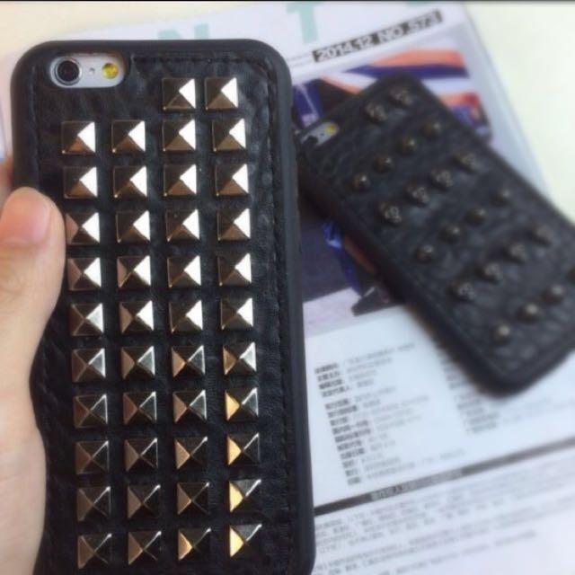 ☆Aly Look☆(現貨)歐美潮牌i6(S)/6(S)Plus鉚釘矽膠軟殼PUNK個性款