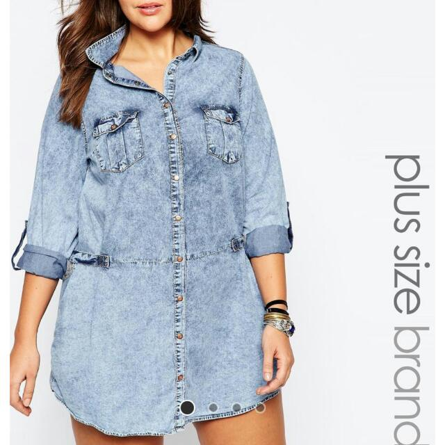 9e227e12 PENDING)Asos Curve Acid Wash Cotton Denim Shirt Dress, Women's ...
