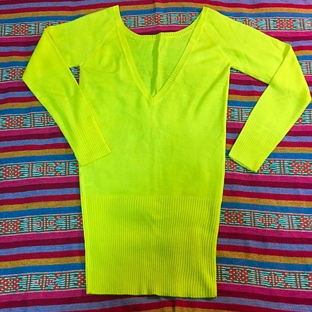 Cocolulu黃色長版毛衣💛可當洋裝!