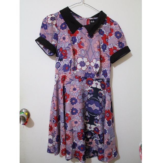 Dotti purple floral dress w/ peter pan collar