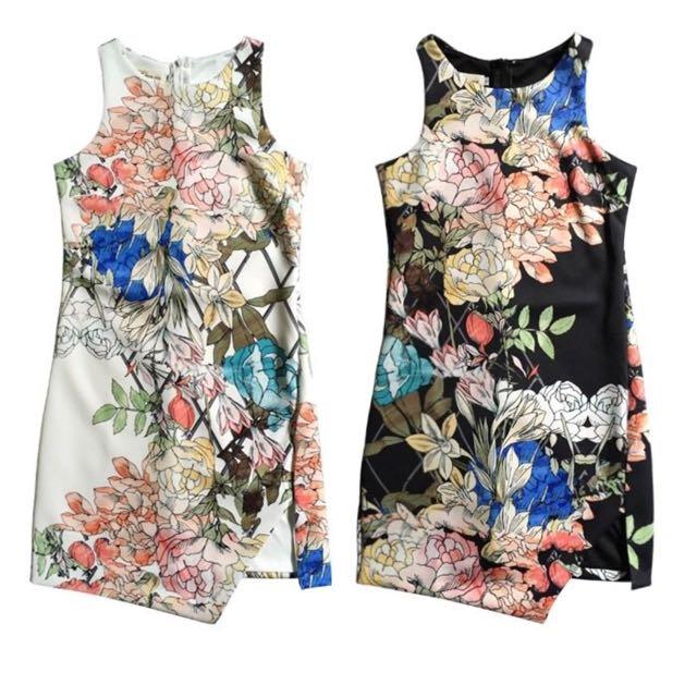 Floral Side Slit Dress In S