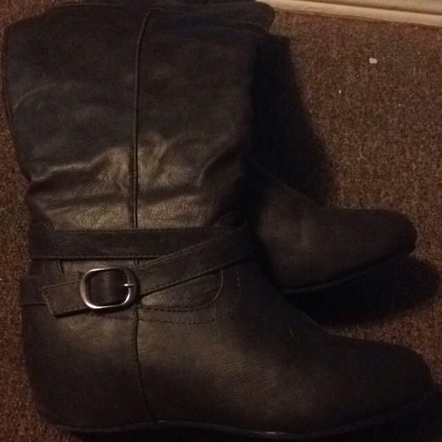 Grey Knee High Heel Boots