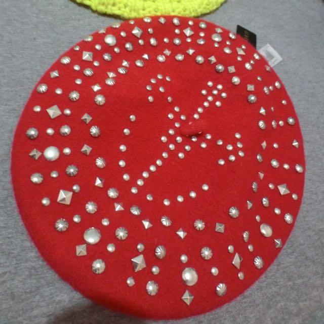 H&M釘釘背蕾帽-紅