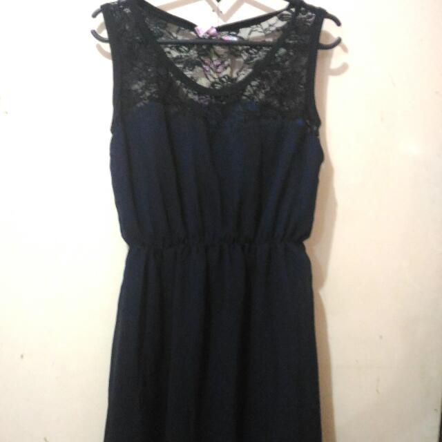 Navy Brokat Dress