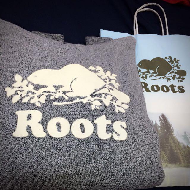 (全新)Roots 麻灰帽T