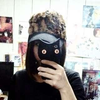 韓製 豹紋 毛毛 網帽 鴨舌帽
