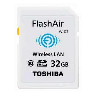 TOSHIBA 32G 32GB FlashAir SDHC WiFi 無線 記憶卡 C10 W-03