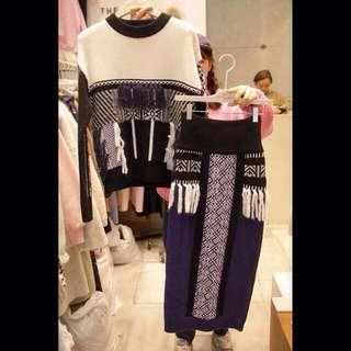 ❤️韓國正品復古風流蘇撞色時尚套裝