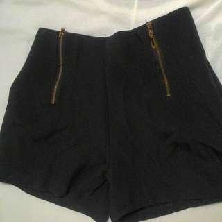 黑色 短褲 拉鍊 褲子
