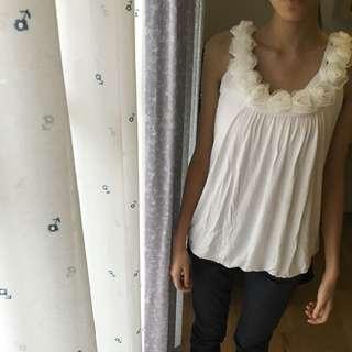 蕾絲花邊氣質白色上衣