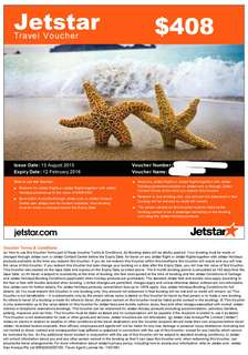 Jestar Voucher sell 10% off $408 for $367
