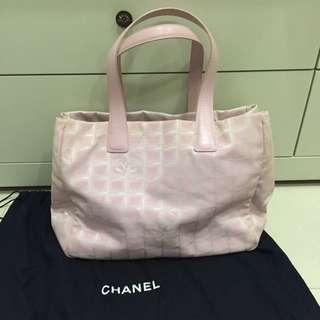 Chanel 粉紅緹花包 可肩背 容量大可當書包/媽媽包 二手真品