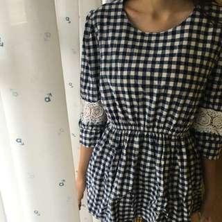 藍色花邊格紋上衣裙