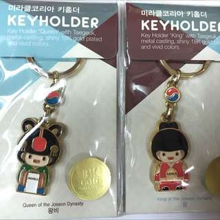 正 韓國買回來的韓國娃娃鑰匙圈一對。2款。全新未使用過》