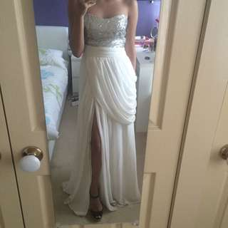 Silver x White Formal Dress With Slit