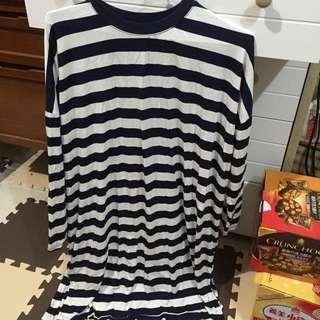 正韓長版橫條藍白洋裝