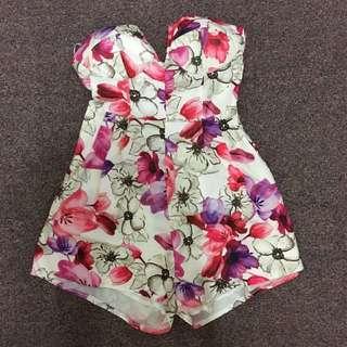 SABO SKIRT Floral Playsuit | Size 6 | Ribbon Backing