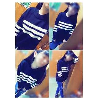韓國黑白配針織衣
