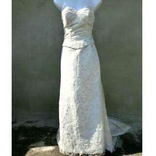 平口蕾絲中拖尾珍珠白禮服 自助婚紗 婚禮 40