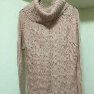高領翻領連身針織毛衣