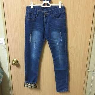 豹紋刷色牛仔褲