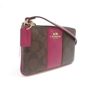 (BN) COACH Wristlet - Brown Logo with Pink Leather Contrast