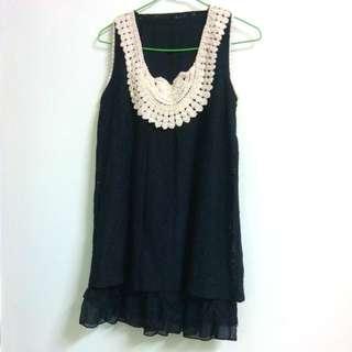 編織領蕾絲雙層背心裙