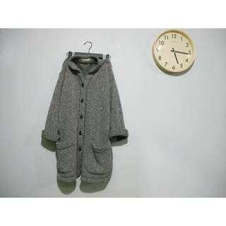 日本○古著_可愛麻灰色側邊開叉圓弧下擺口袋針織毛衣外套