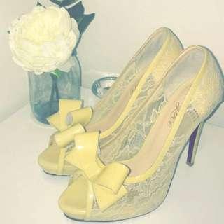 LAST PAIR Brand New Peep Toe Lace Heels