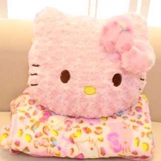 現貨-豹紋kitty法藍絨抱枕毯