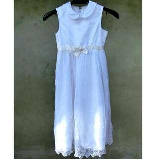 圓領蕾絲純白後綁帶洋裝 童裝 花童 婚禮 43