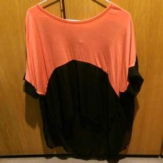 全新✨拼接半雪紡蜜柑橘+黑撞色不對稱上衣