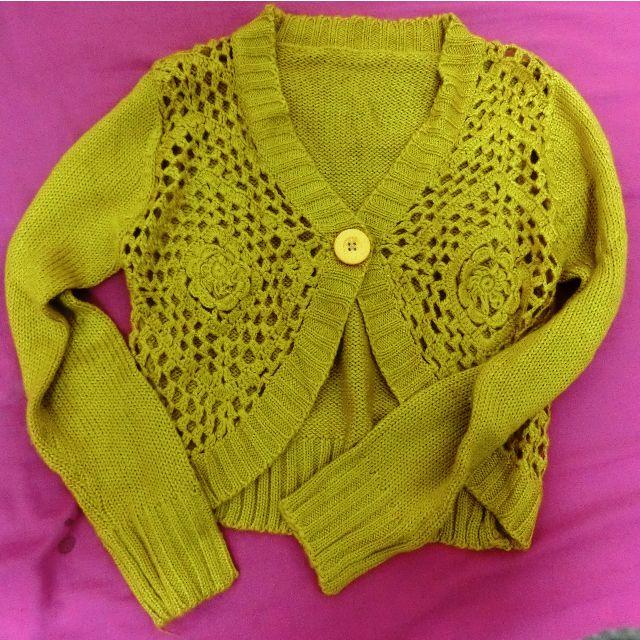全新!芥黃色針織造型短版外套